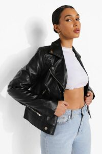Womens Faux Leather Biker Jacket With Quilt Detail - Black - L, Black