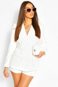 Womens Button Tailored Shorts - White - 14, White