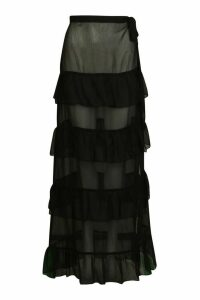 Womens Ruffle Tie Maxi Beach Skirt - Black - Xs, Black