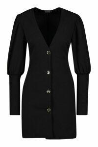 Womens Puff Sleeve Plunge Button Front Blazer - Black - 16, Black