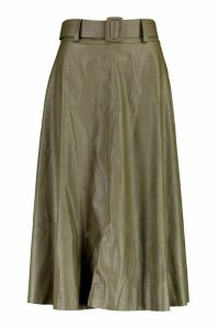 Womens Leather Look Self Belt Skater Skirt - Green - 16, Green