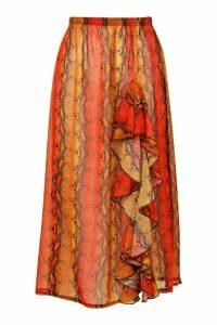 Womens Snake Ruffle Maxi Skirt - Orange - M, Orange