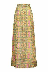 Womens Tropical Tile Print Split Leg Maxi Beach Skirt - Yellow - 8, Yellow