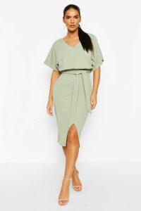 Womens Kimono Tie Belt Midi Dress - Green - 16, Green