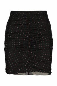 Womens Tall Mesh Polka Ruched Front Skirt - Black - 18, Black
