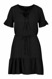 Womens Ruffle Hem Tie Detail Belted Mini Dress - Black - 12, Black