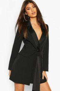 Womens Sash Detail Blazer Dress - Black - 18, Black