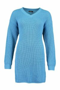 Womens Fisherman V Neck Jumper Dress - Blue - M, Blue