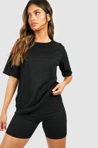Womens Oversized T-Shirt & Cycling Short Co-ord - black - 14, Black