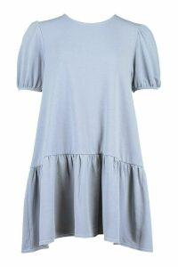 Womens Sweat Smock Dress With Puff Sleeves - Grey - 12, Grey