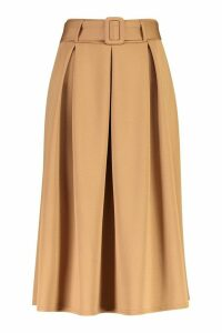 Womens Self Fabric Belted Pleat Midi Skirt - Beige - 8, Beige