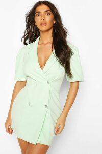 Womens Puff Sleeve Diamonte Button Blazer Dress - Green - 18, Green