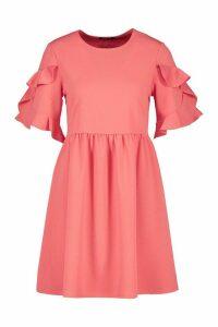 Womens Extreme Ruffle Sleeve Smock Dress - Orange - 14, Orange