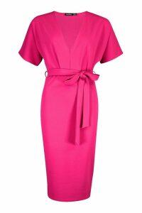 Womens Plunge Neck Tie Waist Midi Dress - Pink - 14, Pink