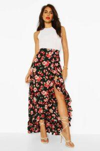 Womens Floral Print Ruffle Hem Maxi Skirt - Black - 14, Black