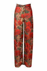 Womens Leopard Rose Beach Trousers - Brown - M, Brown