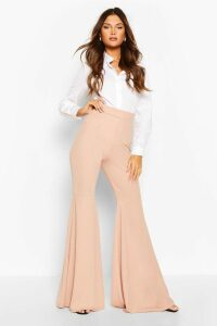Womens Extreme Flare Jersey Trousers - Beige - 16, Beige