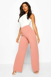 Womens Basic High Waist Stretch Wide Leg Trousers - Pink - 12, Pink