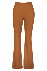 Womens Recycled Rib Flare Trousers - Brown - 16, Brown