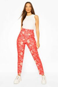 Womens Oriental Floral Belted Skinny Trouser - Red - 16, Red