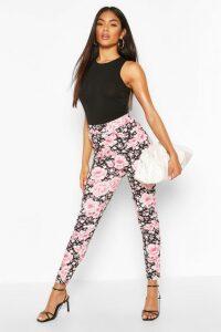 Womens Oriental Floral Skinny Trousers - Black - 16, Black