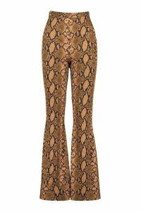 Womens Tonal Snake Ribbed Flares - Beige - 16, Beige