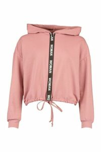 Womens Oversized Taping Zip Up Drawstring Hoodie - Pink - 6, Pink