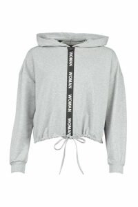 Womens Oversized Taping Zip Up Drawstring Hoodie - grey - 16, Grey