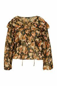 Womens Plus Floral Lace Up Peplum Blouse - beige - 18, Beige
