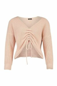 Womens Petite Ruched Front Jumper - pink - L, Pink