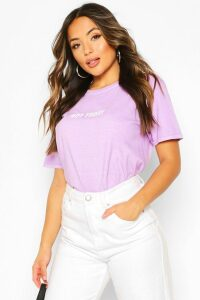 Womens Petite 'Not Today' Washed Slogan T-Shirt - Purple - M, Purple