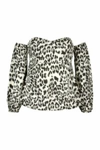 Womens Plus Leopard Satin Bardot Peplum Top - grey - 24, Grey