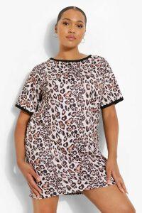 Womens Plus Leopard Ringer T-Shirt Dress - Brown - 18, Brown