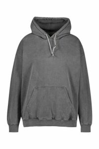 Womens Plus Oversized Washed Hoodie - black - 20, Black