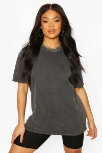 Womens Plus Oversized Washed T-Shirt - black - 20, Black
