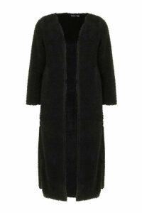 Womens Petite Fluffy Knit Cardigan - black - 14, Black