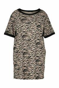 Womens Plus Tiger Ringer T-Shirt Dress - Beige - 20, Beige