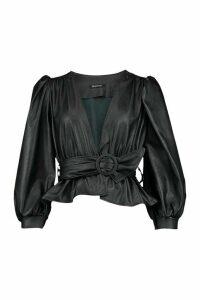 Womens Petite Belted Peplum Leather Look Top - black - 6, Black