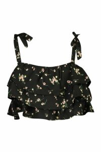 Womens Petite Ditsy Ruffle Crop Top - Black - 14, Black