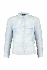 Womens Petite Textured Spot Sheer Shirt - Blue - 6, Blue