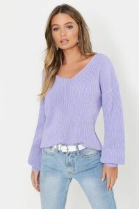 Womens Oversized V Neck Jumper - purple - L, Purple