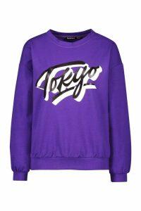 Womens Petite Tokyo Sweatshirt - Purple - 10, Purple