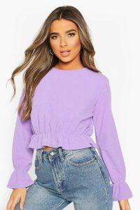 Womens Petite Textured Rib Volume Sleeve Top - Purple - 14, Purple