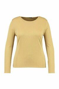 Womens Plus Soft Rib Crew Neck Long Sleeve Top - Green - 20, Green
