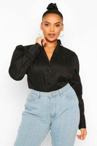 Womens Plus Crochet Lace Insert Poplin Shirt - Black - 20, Black