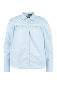 Womens Plus Crochet Lace Insert Poplin Shirt - Blue - 18, Blue