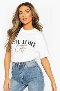 Womens Petite Leopard City Slogan Oversized T-Shirt - white - M, White