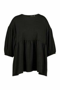 Womens Plus Extreme Puff Sleeve Sweat Smock Top - Black - 16, Black