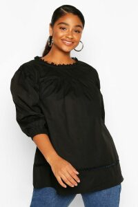 Womens Plus Crochet Lace Trim Smock Top - Black - 20, Black