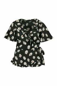 Womens Plus Daisy Print Woven Wrap Top - Black - 18, Black